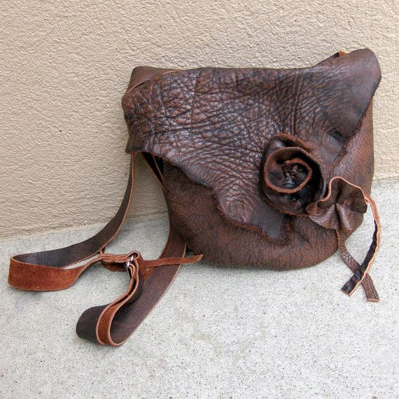 Adorable handmade rustic leather bag with leather rose.