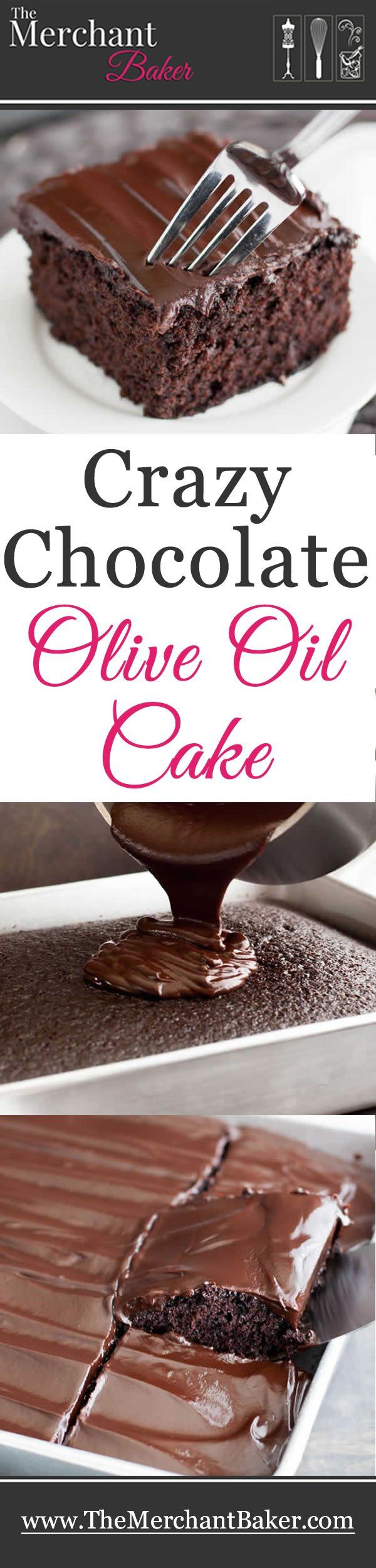 Crazy Chocolate Olive Oil Cake. Use a bowl or just mix it up right in the baking pan! Vegan friendly on it's own or pour on some fudgy ganache for a real treat!