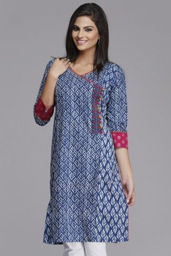 Stylish #Blue Straight Cotton #Kurta by #Farida Gupta on www.indiainmybag.com/farida-gupta