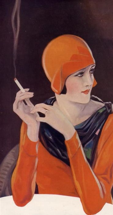 1920's Art Deco Fashion Lady in Cloche hat smoking Craven A - http://hprints.com/Craven_A_Cigarettes_Tobacco_Smoking_1930-51206.html