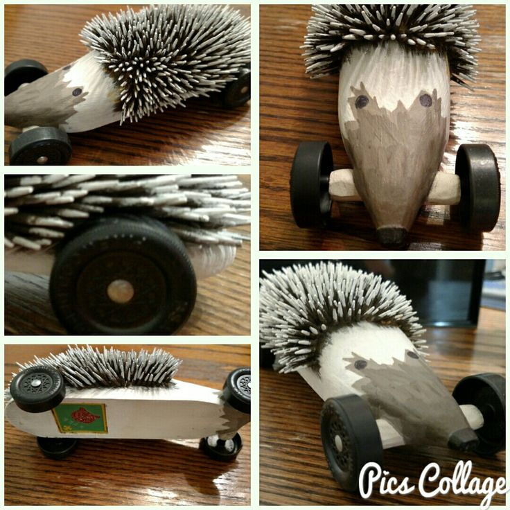 Hedgehog Pinewood Derby car