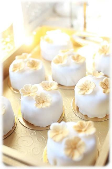 Mini cakes at a gold and white Birthday Party!  See more party ideas at CatchMyParty.com!