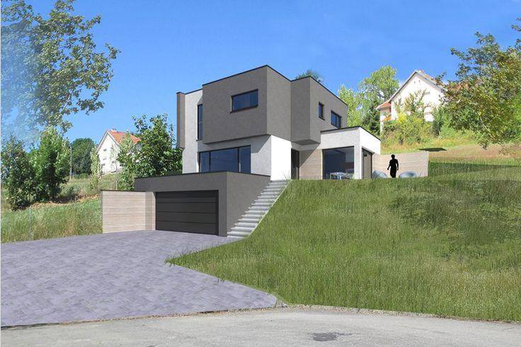 Maison bois sur terrain en pente maison pinterest for Maison plain pied sur terrain en pente