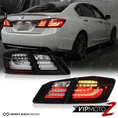 JDM 2013-2015 Accord Sport EX LX Black [HIGH POWER] LED Taillights Brake Signal #VIPMOTOZ