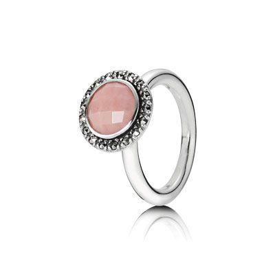 Silver ring with pink opal. $115 #PANDORA #PANDORAring
