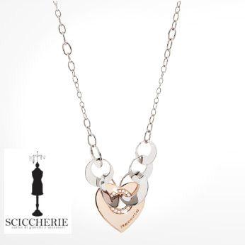 Rebecca Gioielli Collezione San Valentino.  Collana in acciaio e bronzo bagnato in oro rosa con pietre.  #sanvalentino #rebeccagioielli #collana