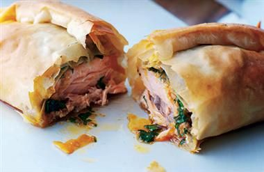 Nero's chicken, spinach, sundried tomato, bacon filo parcels with pumpkin risotto.
