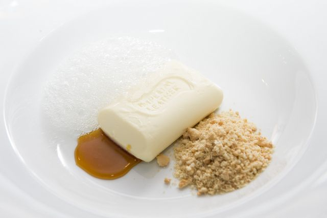 Amazing and COOL dessert by Morning Fresh ambassador George Calombaris that looked like soap.  -- Dessert White chocolate mousse with berry compote and crumble