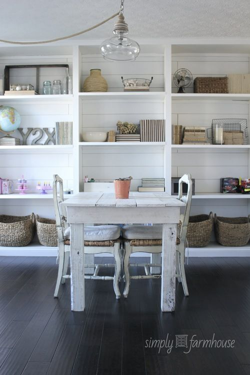 Love that light fixture. Love the bright, airy, farmhouse-feel. Love the shelves and the baskets
