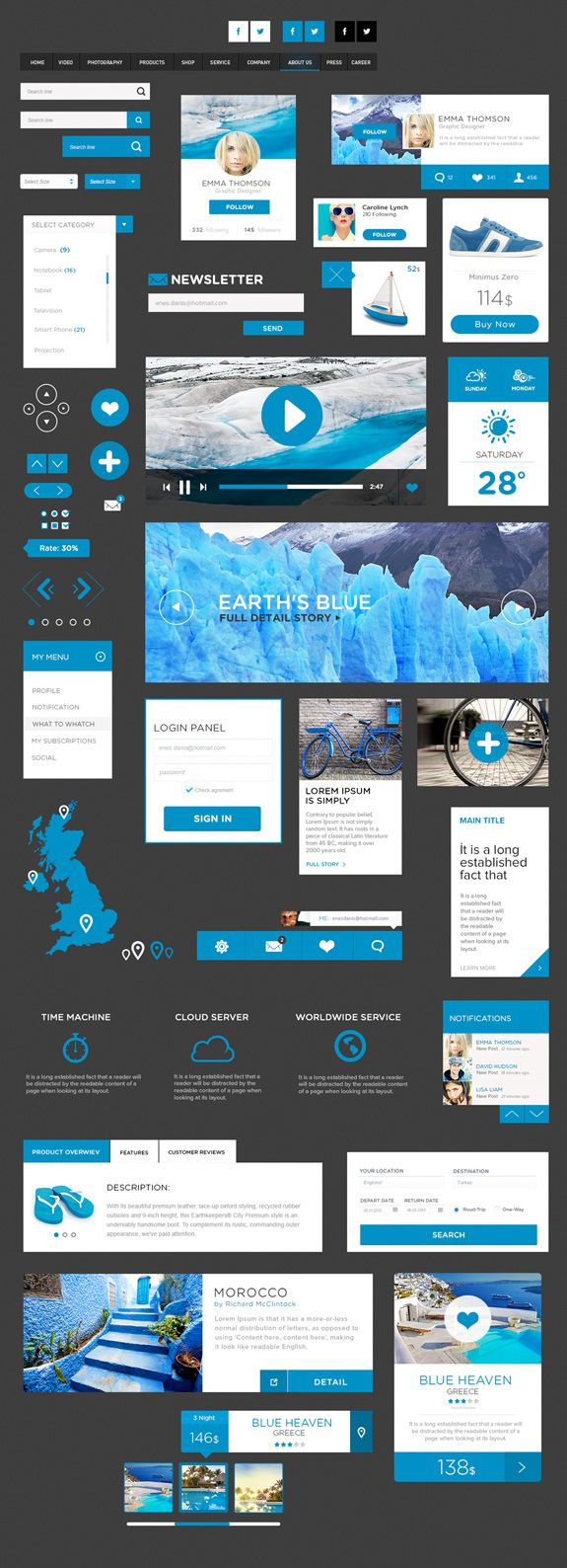 Free flat ui kit bleu #blue #map #video #tabs