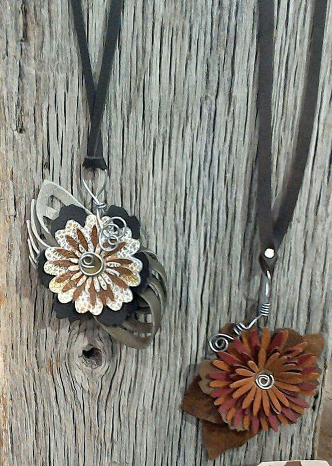 1-Oak Up Leather Flower Necklaces Fall 2015 Upcycled Leather and Wire Necklaces.