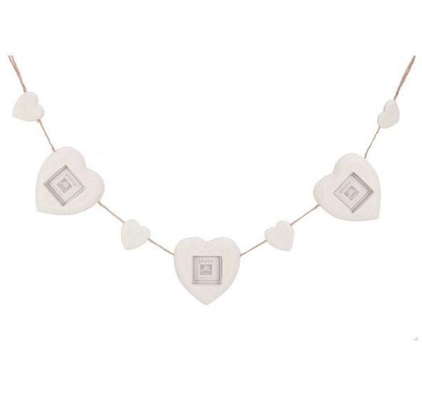 Wooden Heart Photo Frame Garland in White