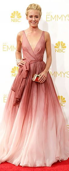 Beautiful! Cat Deeley looked angelic in a dusty rose ombre wrap gown with a full skirt at the 2014 Emmys.