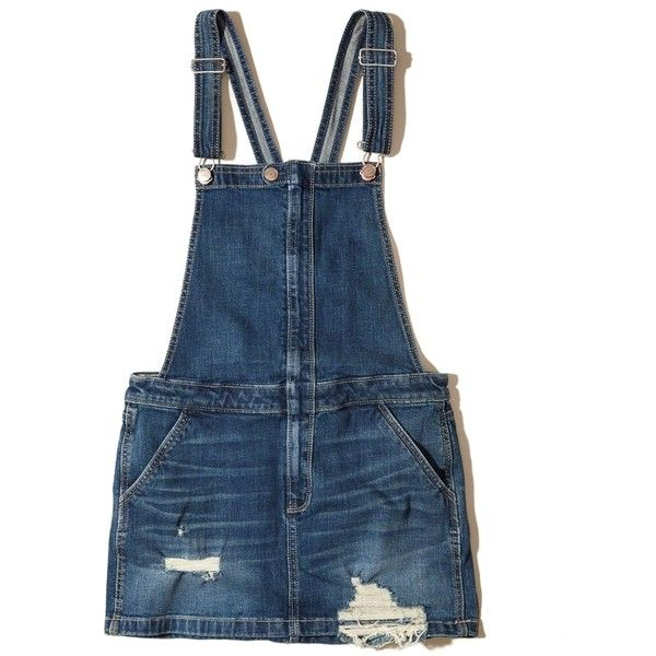 49da6de2231 Hollister Ripped Denim Skirt Overalls ( 50) ❤ liked on Polyvore featuring  jumpsuits