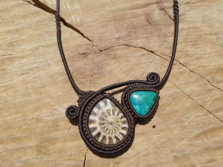 ammonite fossil with chrysocolla necklace,macrame necklace,double stone necklace,macrame jewelry,macrame stone necklace,asymetric design by ARTEAMANOetsy on Etsy
