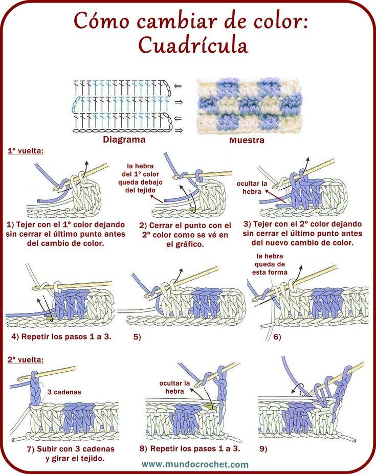 Cambio de color en crochet: Cuadrícula - Mundo Crochet - Teresa Restegui http://www.pinterest.com/teretegui/ ✔