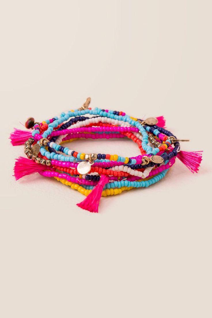 Coco Tassel Beaded Bracelet Set |                                              francesca's