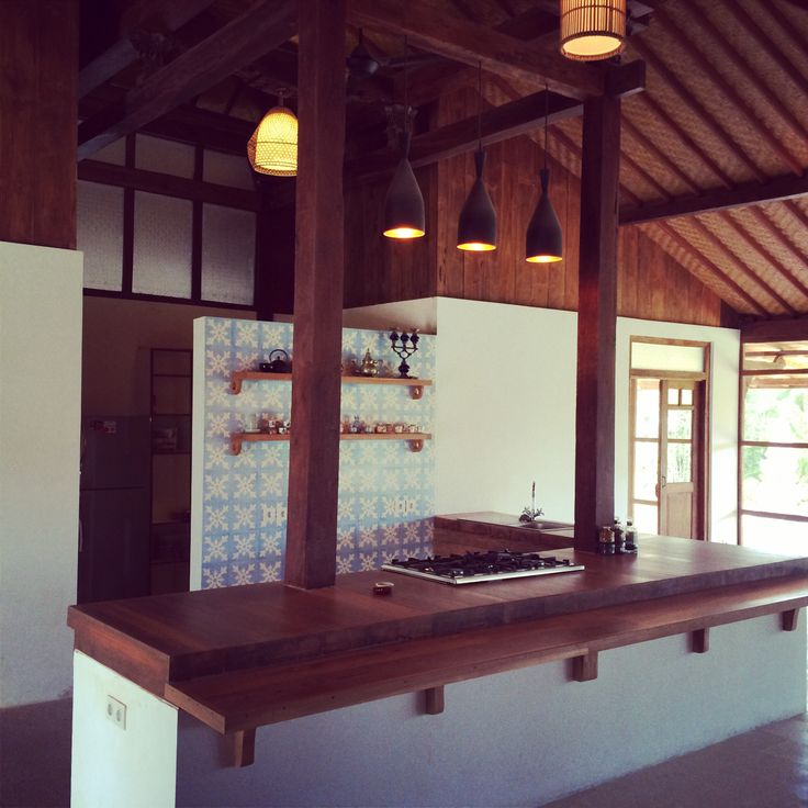 Wooden Kitchen in renovated 100 years old Javanese house in ubud Bali