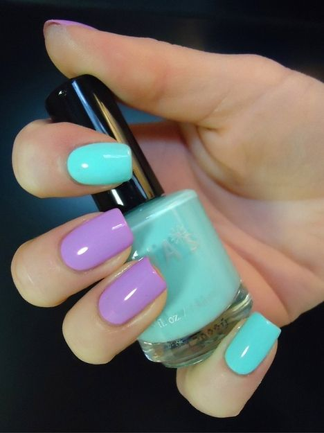 By NTBeauty. Colors used: 1. butter LONDON 3 Free Nail Lacquer in Molly Coddled (opaque lavender orchid cream) 2. Essie Nail Polish in Turquoise and Caicos (a flirty and pretty tropical aqua)  #colorblock #purple #aqua @Bloom.com