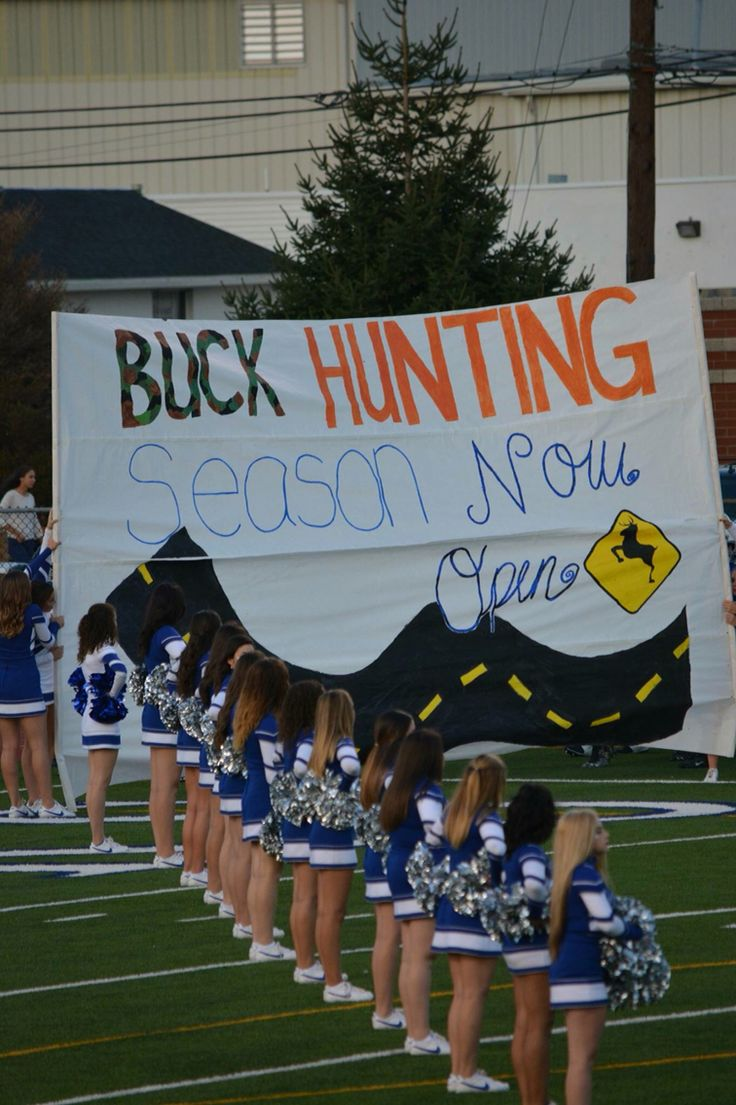 Beat bucks, hunting season, cheer, cheerleading, run through, run through sign, beat the Bucks, cheer run through, football run through