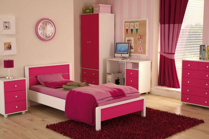 Terrific Teenage Girls Bedroom Decorating Ideas Featuring Modern Dark Pink White Furniture Set Added Maple Natural Wood Laminate Flooring Also Lovely Stripped Fabric Grommet Top Curtains With Home Bedroom Decorating Ideas And Teen Room Decor Ideas, Lovely Cute Teenage Girls Bedroom Decorating Ideas: Bedroom, Furniture, Interior