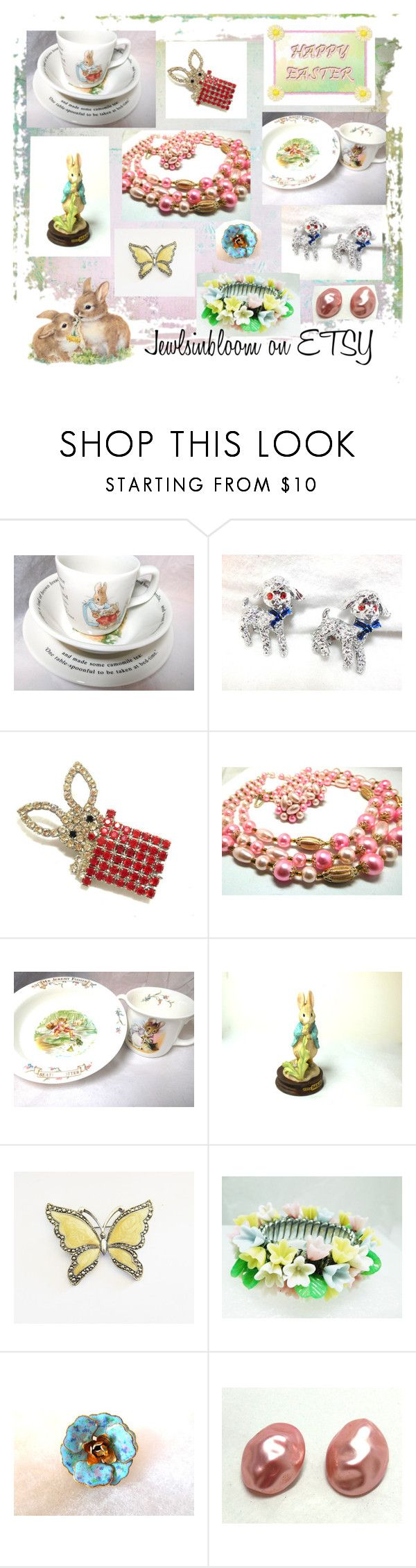 """""""Happy Easter"""" by jewlsinbloom ❤ liked on Polyvore featuring interior, interiors, interior design, home, home decor, interior decorating, Butler & Wilson, Royal Albert and vintage"""