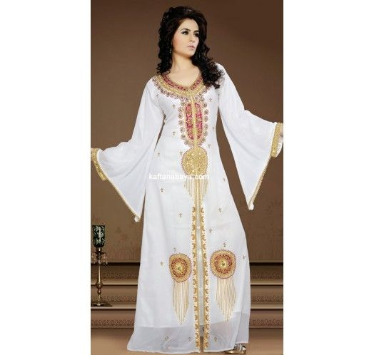 White Faux Georgette Trendy Dubai #Kaftan