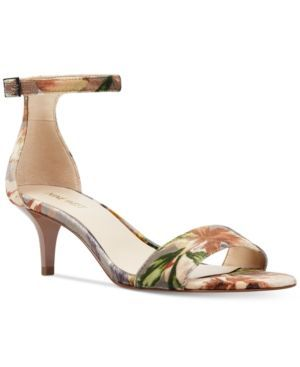 Nine West Leisa Two-Piece Kitten Heel Sandals - Tan/Beige 10.5M