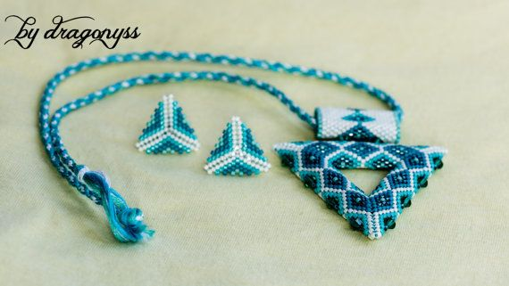 Glacier set of beaded pendant and earrings