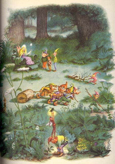 Garth Williams  Illustration from The Brownie in the Garden, story included in The Golden Books Treasury of Elves and Fairies