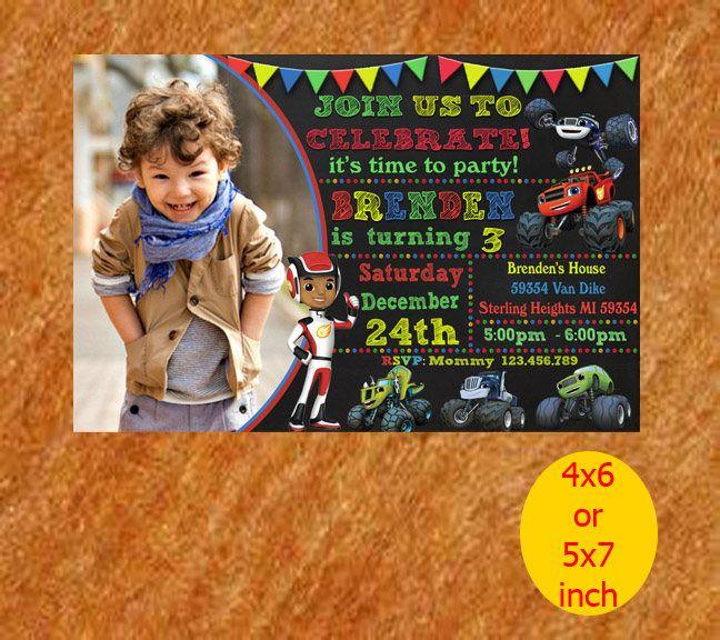 Blaze The Monster Machines Invitation, Birthday Invitation, invite, Printable, Instant Download by RipoArtShop on Etsy