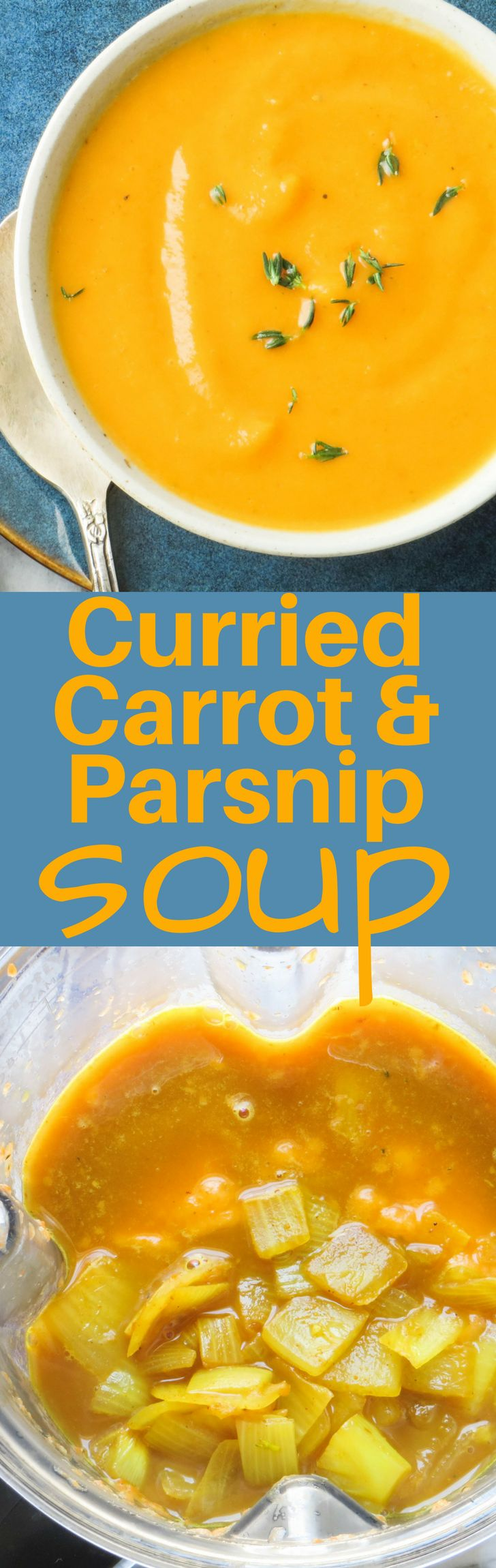 This easy vegetarian soup is made with leftover vegetables, broth and spices and is ready in minutes. Curried Carrot and Parsnip Soup is a great light lunch or starter. #soup #vegetariansoup #carrotsoup #parsnips #carrots #curry #vitamix #blendersoups #fastmeals #healthymeals #vegansoup #creamysoups #healthycreamysoup