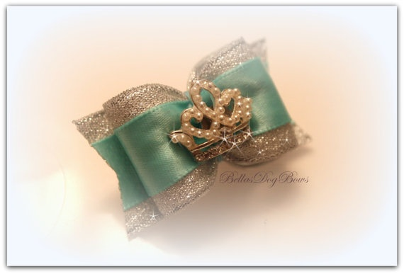 Tiffany Inspired Princess Bow Adorned with Princess Pearl by BellasDogBows, $16.99