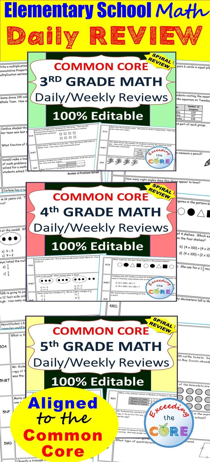 Need a Spiral Review of the 3rd, 4th and 5th Grade Common Core standards? This Bundle contains 300 questions aligned to the common core math standards for 3rd, 4th and 5th grade. Perfect for warm-ups, homework, math centers & test prep. The resource is 100% editable!  Operations and Algebraic Thinking (3OA, 4OA, 5OA), Numbers and Operations in Base Ten (3NBT, 4NBT, 5NBT), Numbers and Fractions (3NF, 4NF, 5NF), Measurement & Data (3MD, 4MD, 5MD), Geometry (3G, 4G, 5G)