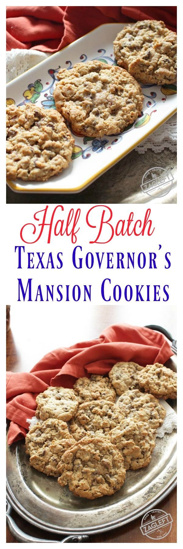 Half Batch Texas Governor's Mansion Cookies - loaded with chocolate chips, pecans, coconut and oats. A half batch of delicious cowboy cookies from ZagLeft