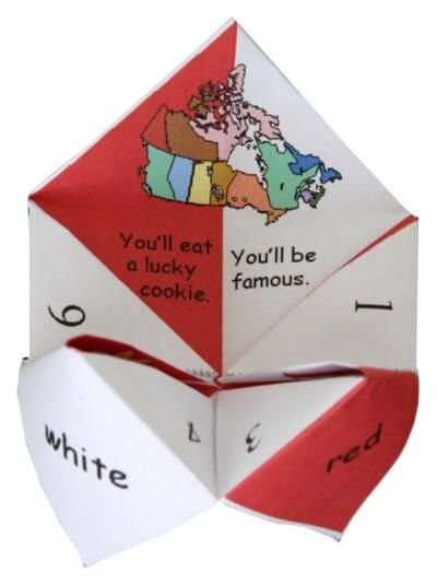canada themed origami fortune teller pinteres. Black Bedroom Furniture Sets. Home Design Ideas