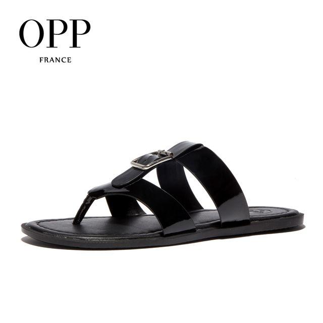 Promotion price OPP 2017 Summer Men's Genuine Leather Flip Flops Slippers  Shoes For men Beach Slippers