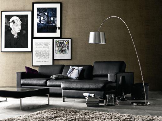 Modern modular black leather sofa Cesto