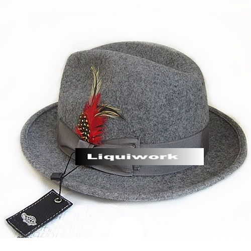 Buy Mens Grey Gray Wool Winter Dress Fedora Hats for Men SKU-159010