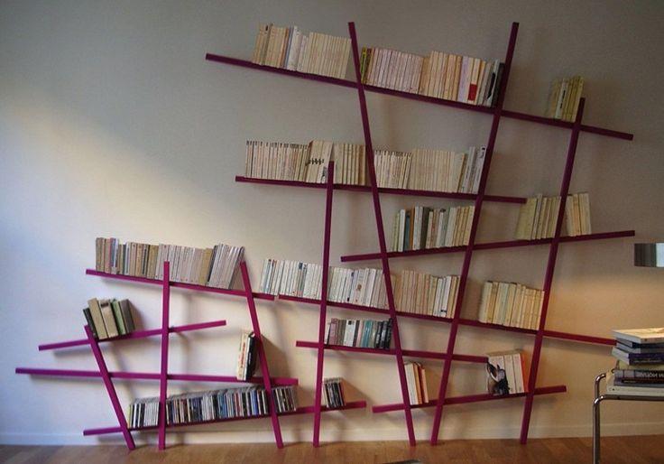 Libreria a giorno a parete laccata mikado compagnie for Copie mobili design