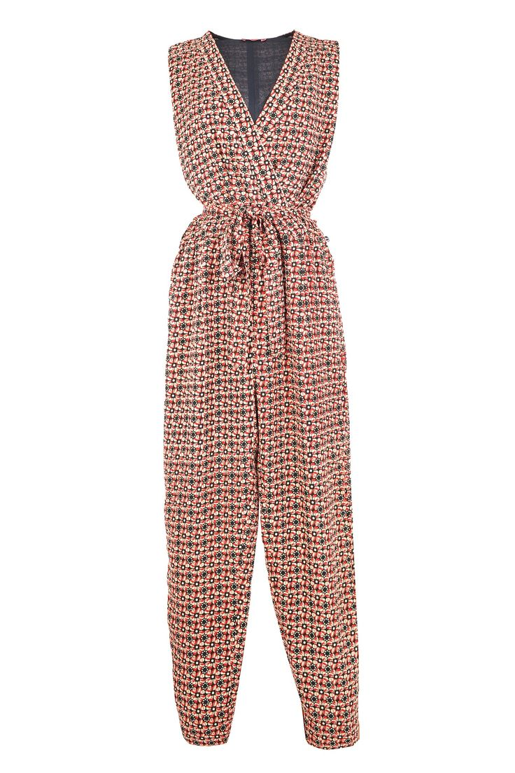 Your waist won't be wasted if you jump into this V-neck Derhy jumpsuit with tie!