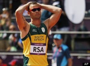 Oscar Pistorius Relay - 4-400 relay runner -The double-amputee runner from South Africa was on the track but didn't get to run in the 4x400-meter relay at the London Olympics because a teammate tumbled out in the first heat Thursday morning before reaching Pistorius for the changeover.