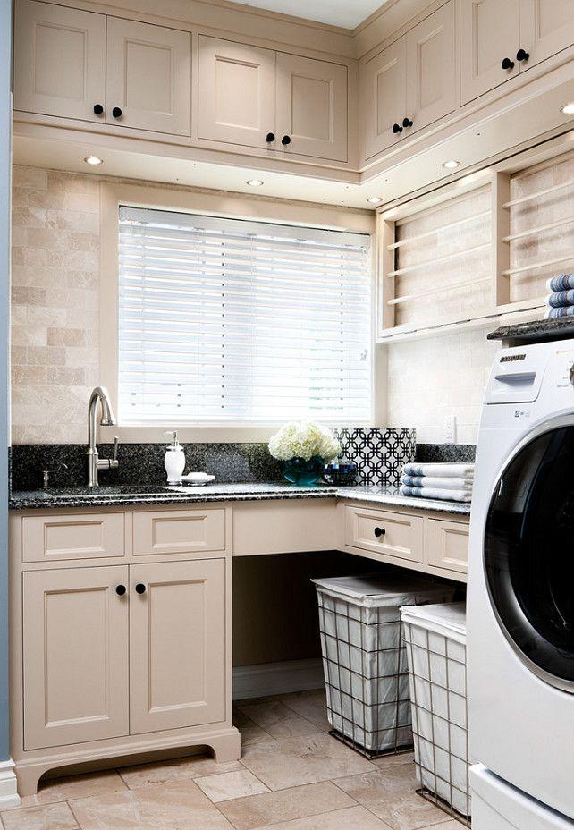 Interior Design - Laundry Room - organized - white cabinets - clean - bright