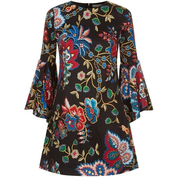 Alice + Olivia Thym Trumpet Sleeve Floral Dress ($380) ❤ liked on Polyvore featuring dresses, floral printed dress, floral pleated dress, trumpet dress, sleeved dresses and floral day dress