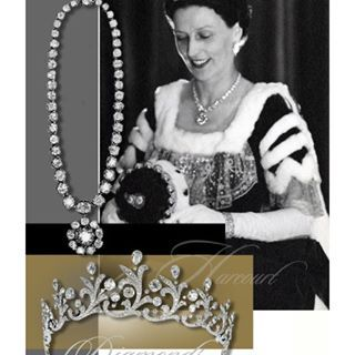 The Harcourt - Diamond Tiara of styled flower ornaments and large Diamond Riviere with Diamond Pendant - the Harcout Diamonds. The Diamond Tiara desig...