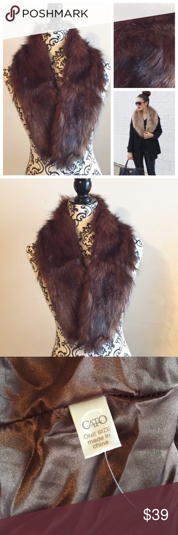 NWOT faux fur stole in gorgeous browns and reds NWOT faux fur stole in gorgeous natural looking shades of browns and reds. Approximately 4 feet long. Faux fur: 79% acrylic, 21% modacrylic and the backing is 100% polyester. Incredibly soft and easy to wear and care for - machine washable. One large hook and eye closure. This stole is extremely versatile and can be worn as a collar for a coat, a scarf, or as an extra fun detail to an outfit! ❗️PRICE FIRM UNLESS BUNDLED❗️ Accessories Scarves…