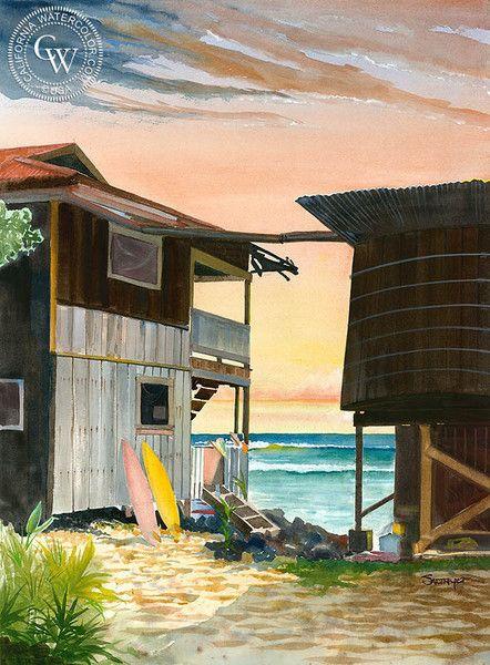 Kona, Hawaii, California art by Steve Santmyer. HD giclee art prints for sale at CaliforniaWatercolor.com - original California paintings, & premium giclee prints for sale