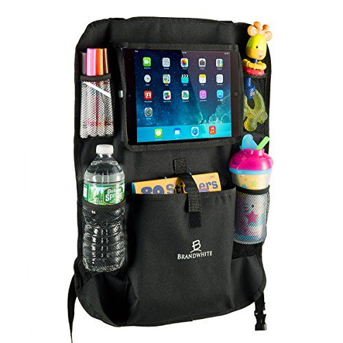 """Car Back Seat Organizer For Kids by Brandwhite-Touch Screen Pocket for Android & iOS Tablets up to 9.5"""" -Easy to Fit, Many Pouches, Secure iPad & Tablet Holder,Durable Material,Smoother Family Trips"""