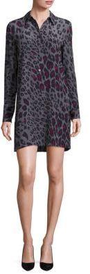 Joie Clean Lucida Long Sleeve Cheetah Print Shirt Dress