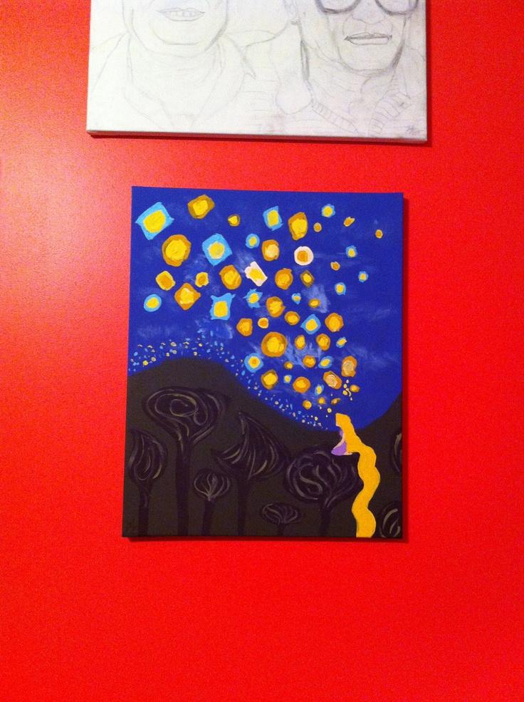 Disney tangled rapunzel lanterns inspired 16x20 canvas painting disney tangled tangled - Painting ideas ...